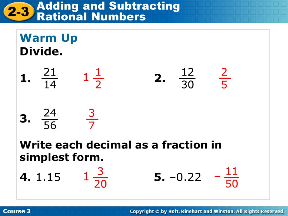 2-3 Adding and Subtracting Rational Numbers Warm Up Problem of the ...
