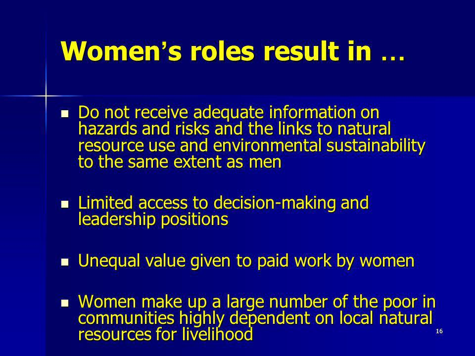 the unequal roles of men and women in life Men often receive family-related benefits attached to salaries and pensions, which women can access only through complicated administrative procedures legal restrictions are strongest in relation to family and personal life where despite recent reforms the widest legal gaps are found.
