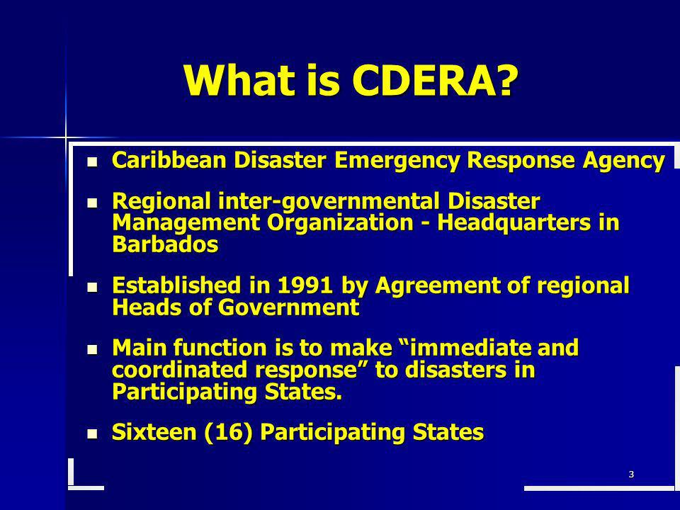 What is CDERA Caribbean Disaster Emergency Response Agency