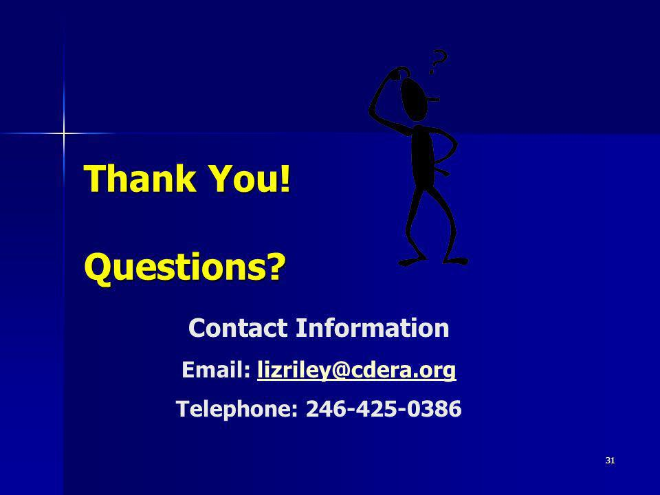 Thank You! Questions Contact Information Email: lizriley@cdera.org Telephone: 246-425-0386