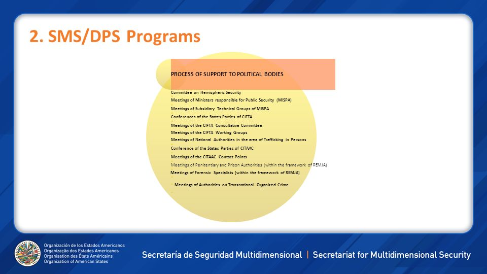 2. SMS/DPS Programs PROCESS OF SUPPORT TO POLITICAL BODIES