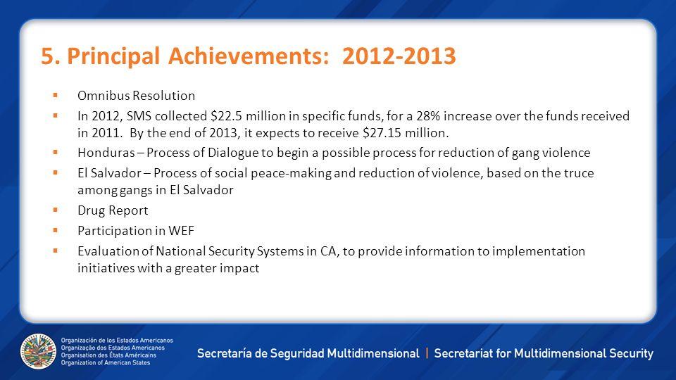 5. Principal Achievements: 2012-2013