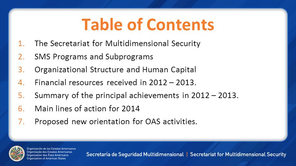 Table of Contents The Secretariat for Multidimensional Security
