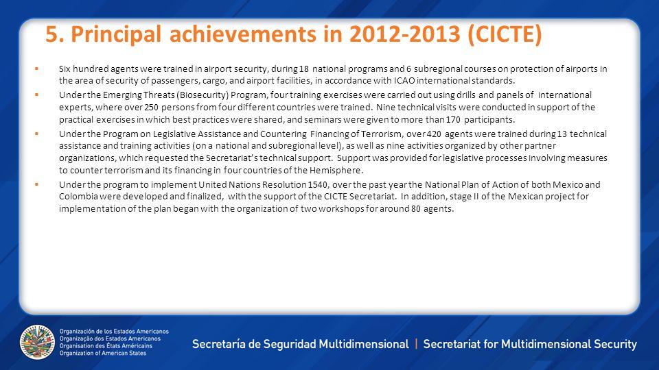 5. Principal achievements in 2012-2013 (CICTE)