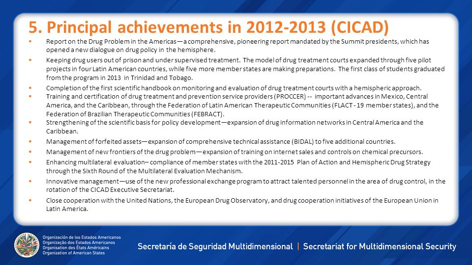5. Principal achievements in (CICAD)