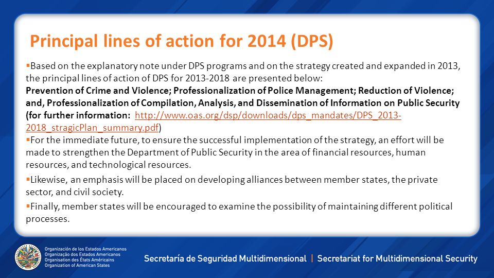 Principal lines of action for 2014 (DPS)