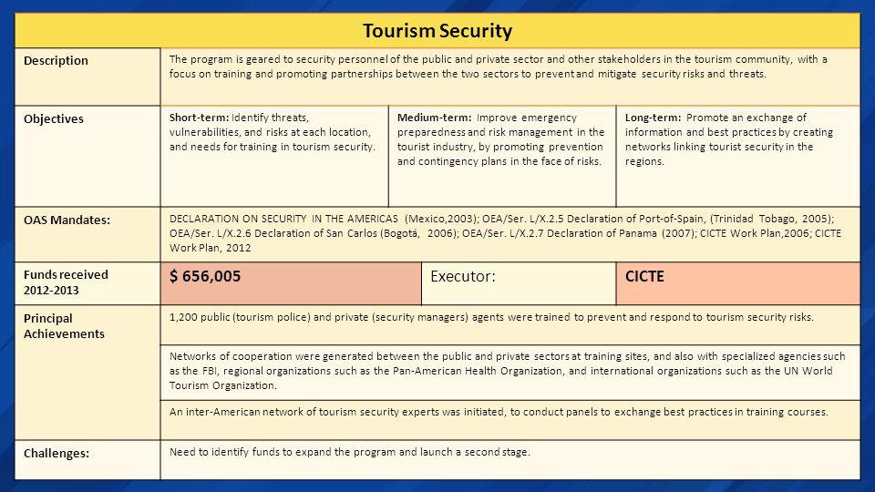 Tourism Security $ 656,005 Executor: CICTE Description Objectives