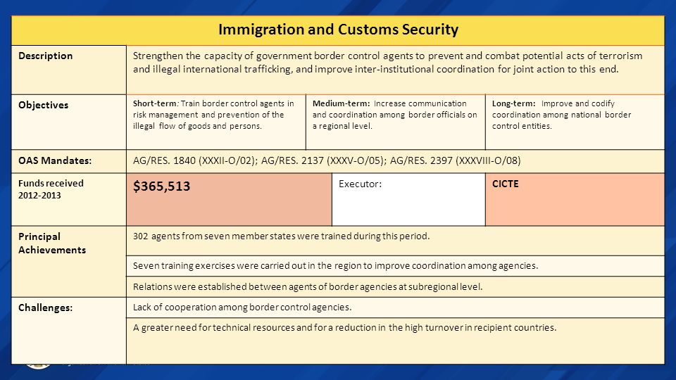 Immigration and Customs Security