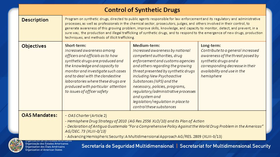 Control of Synthetic Drugs