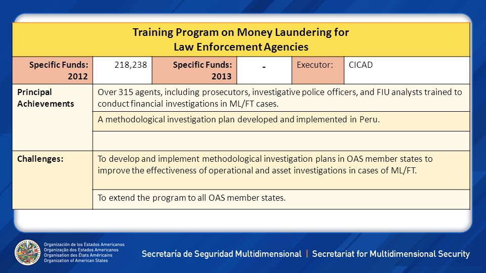 Training Program on Money Laundering for Law Enforcement Agencies