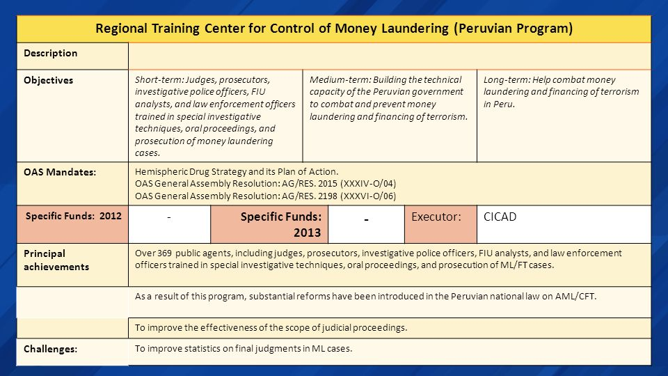 Regional Training Center for Control of Money Laundering (Peruvian Program)
