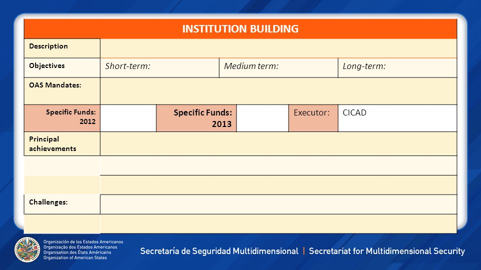 INSTITUTION BUILDING Short-term: Medium term: Long-term: