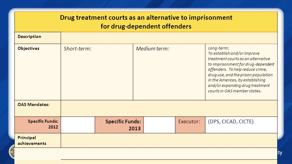 Drug treatment courts as an alternative to imprisonment