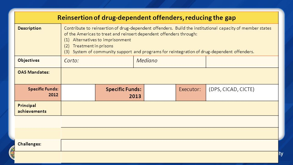 Reinsertion of drug-dependent offenders, reducing the gap