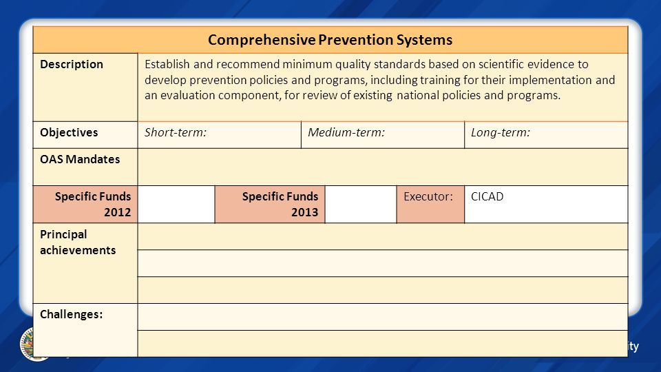Comprehensive Prevention Systems