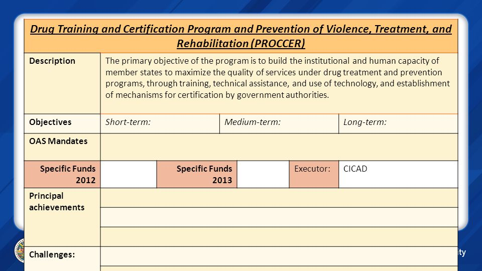 Drug Training and Certification Program and Prevention of Violence, Treatment, and Rehabilitation (PROCCER)