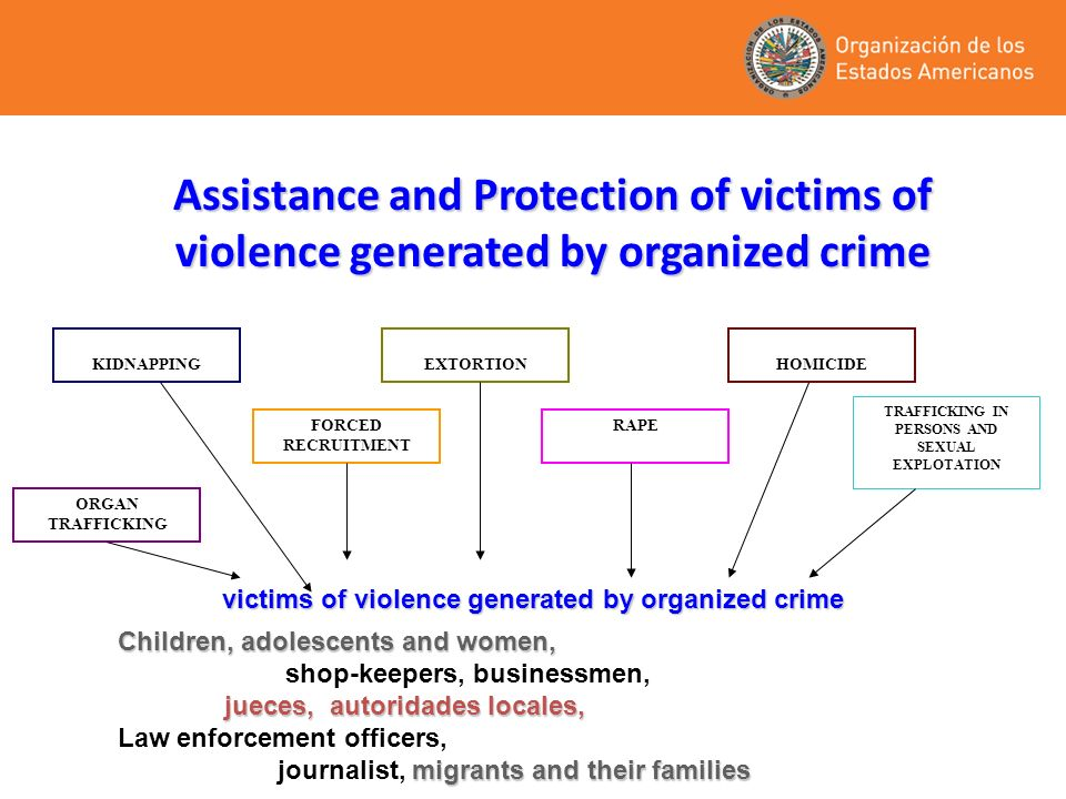 Assistance and Protection of victims of violence generated by organized crime