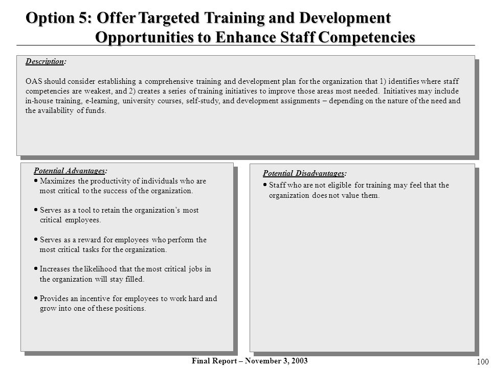 Option 5: Offer Targeted Training and Development