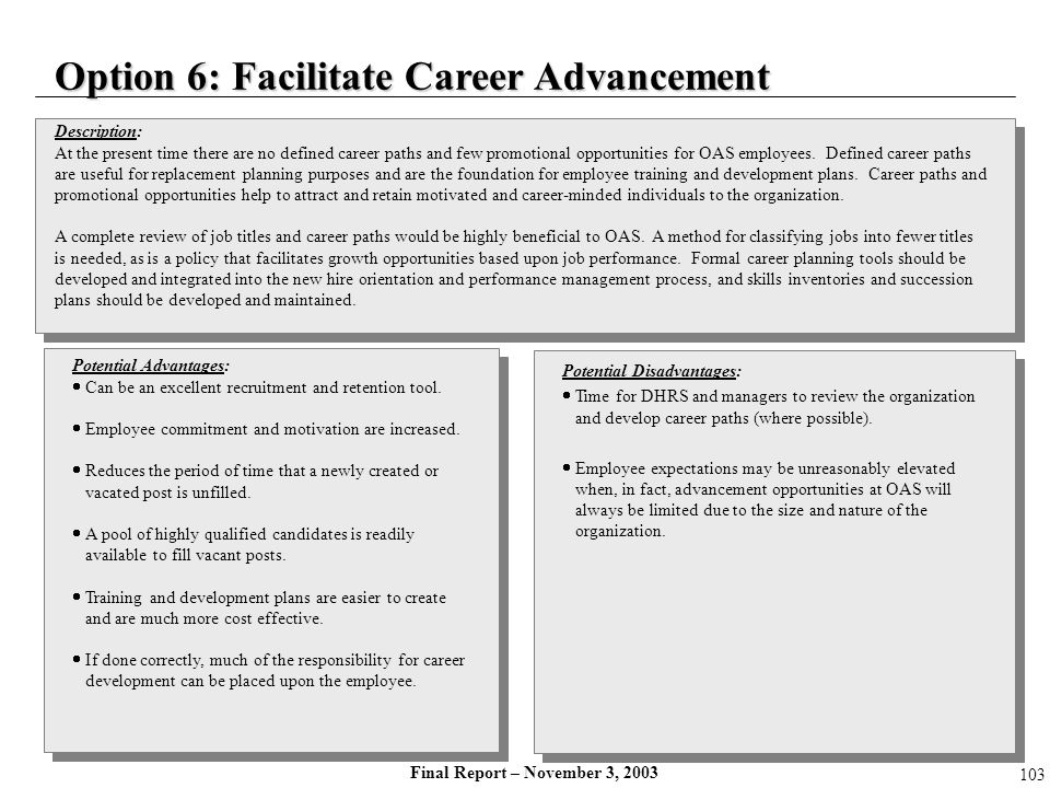 Option 6: Facilitate Career Advancement