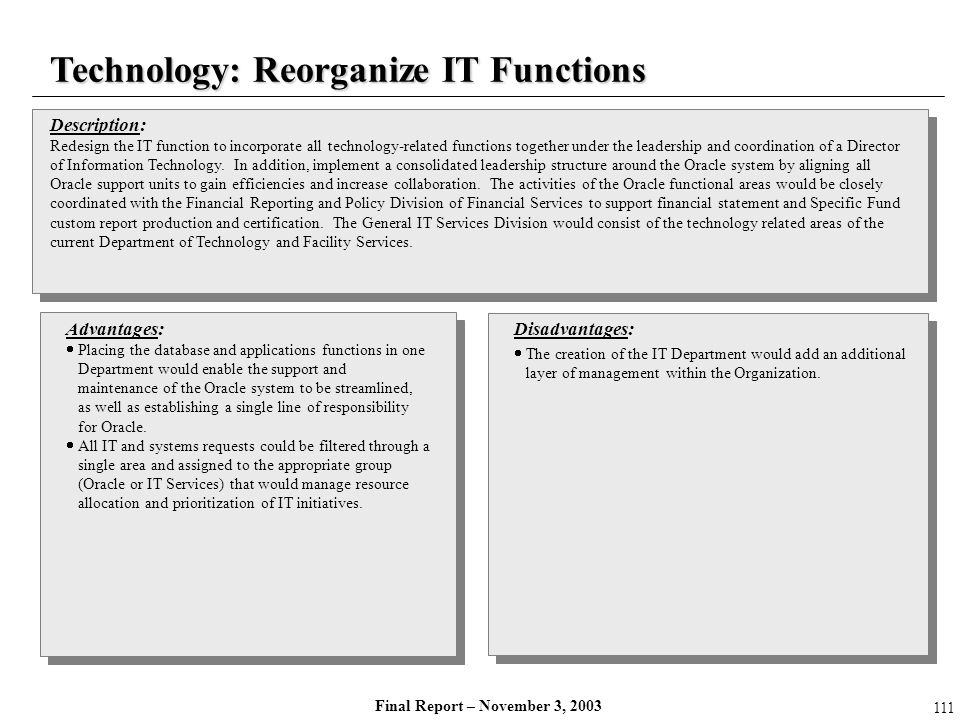 Technology: Reorganize IT Functions