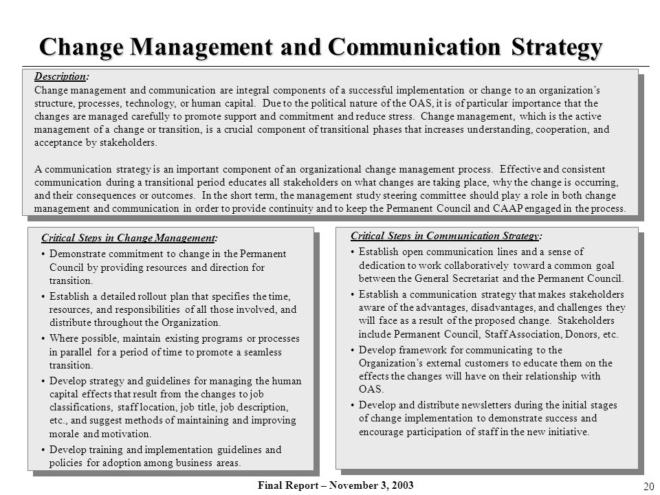 Change Management and Communication Strategy