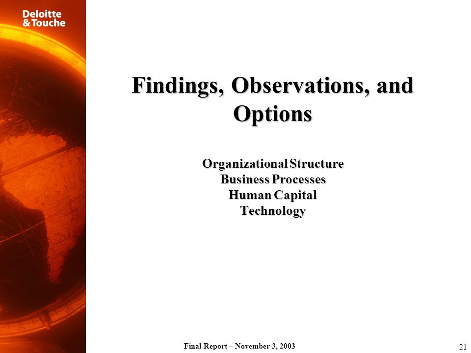 Findings, Observations, and Options Organizational Structure Business Processes Human Capital Technology