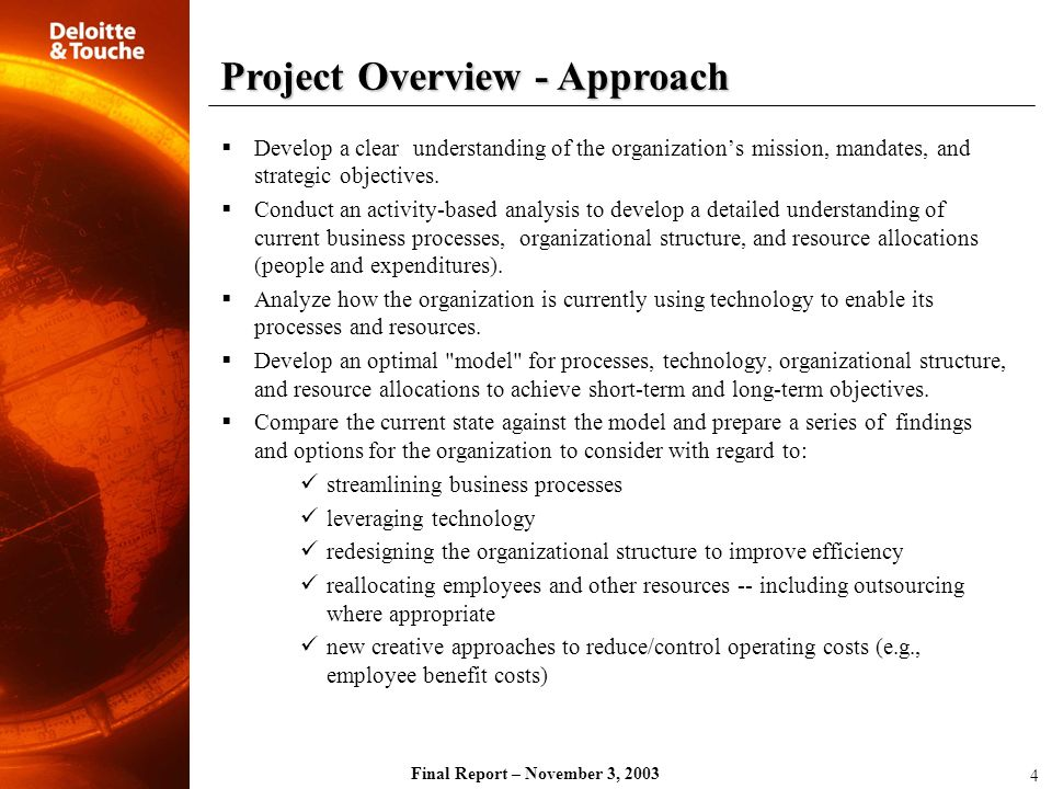 Project Overview - Approach
