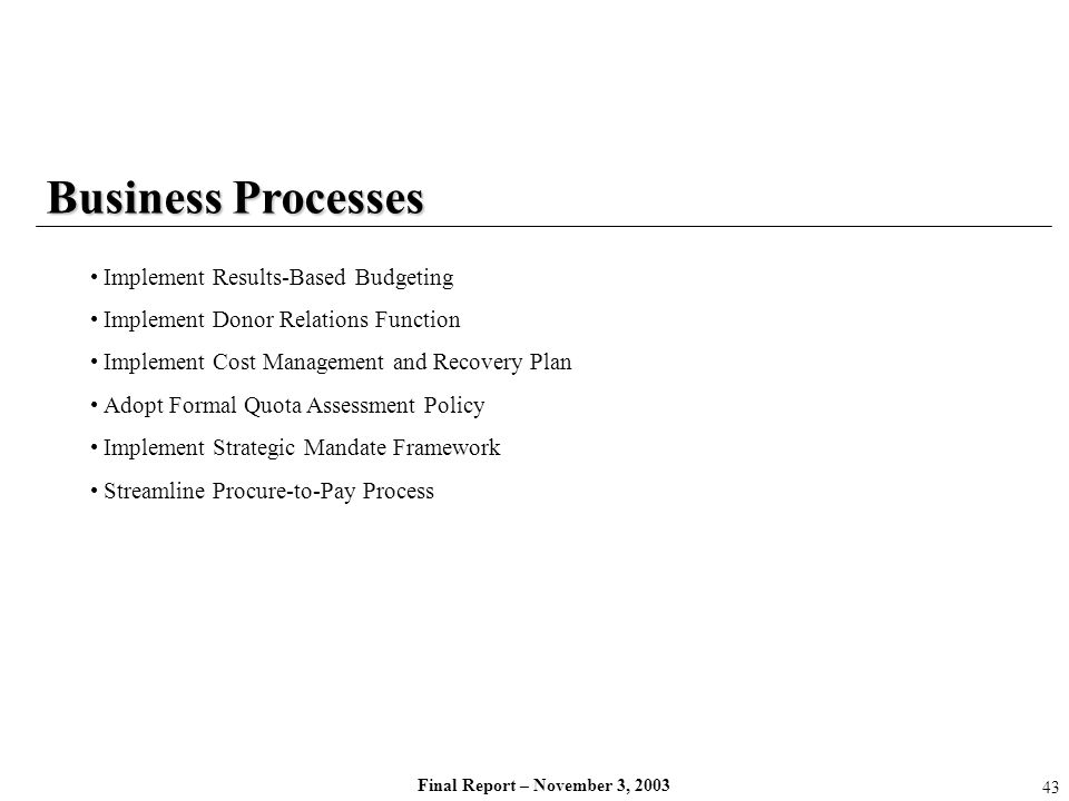 Business Processes Implement Results-Based Budgeting