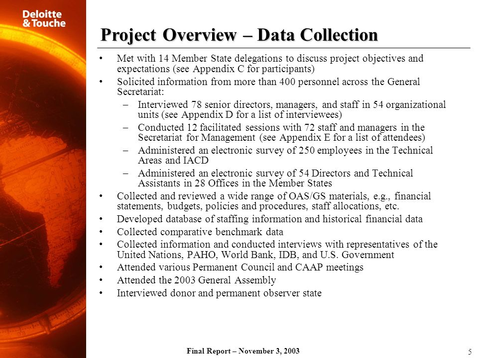 Project Overview – Data Collection