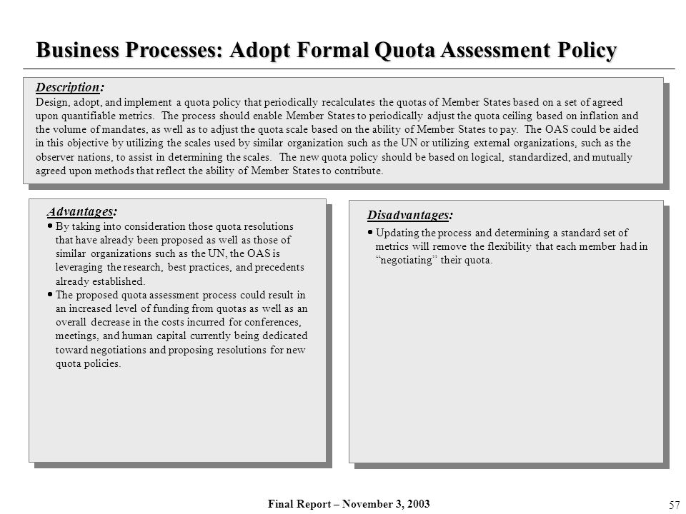 Business Processes: Adopt Formal Quota Assessment Policy