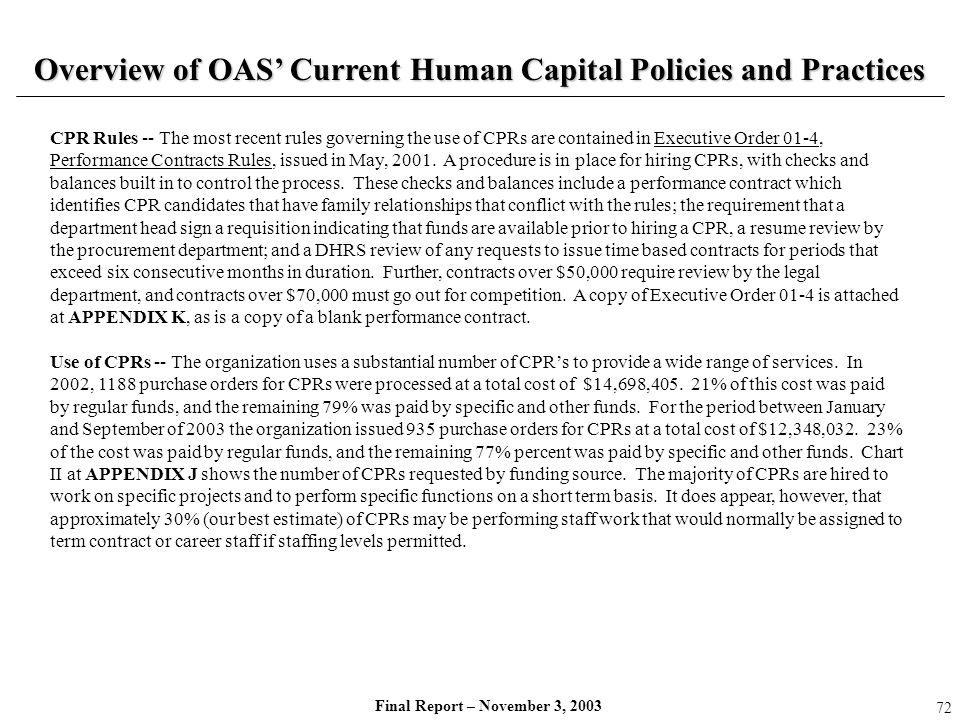 Overview of OAS' Current Human Capital Policies and Practices