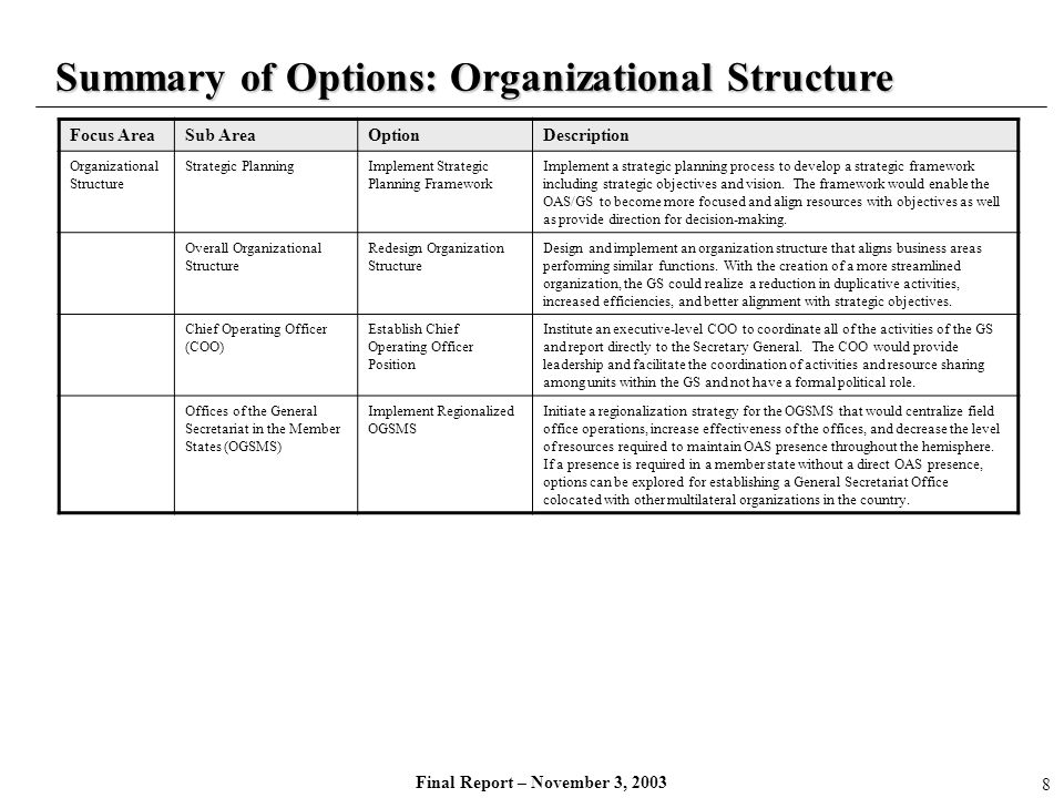 Summary of Options: Organizational Structure