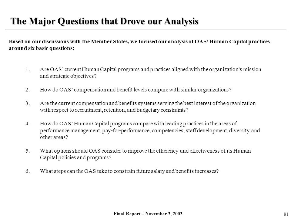 The Major Questions that Drove our Analysis