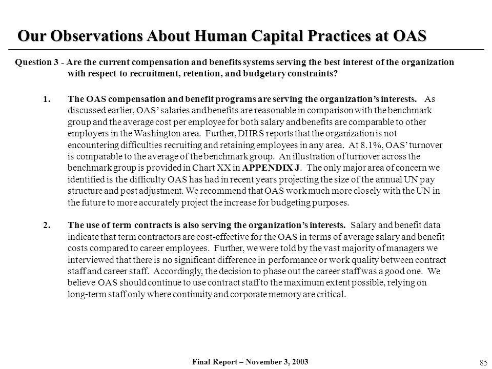 Our Observations About Human Capital Practices at OAS