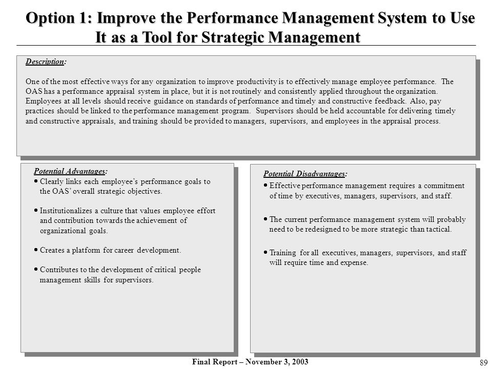 Option 1: Improve the Performance Management System to Use
