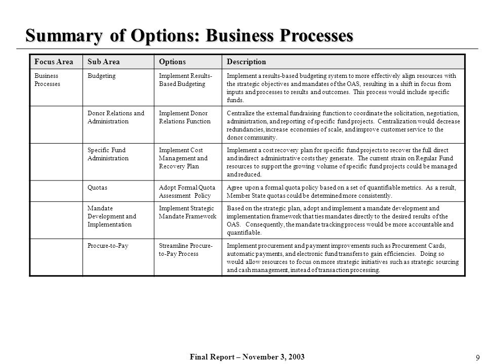 Summary of Options: Business Processes