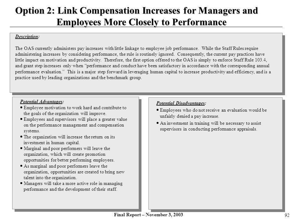 Option 2: Link Compensation Increases for Managers and