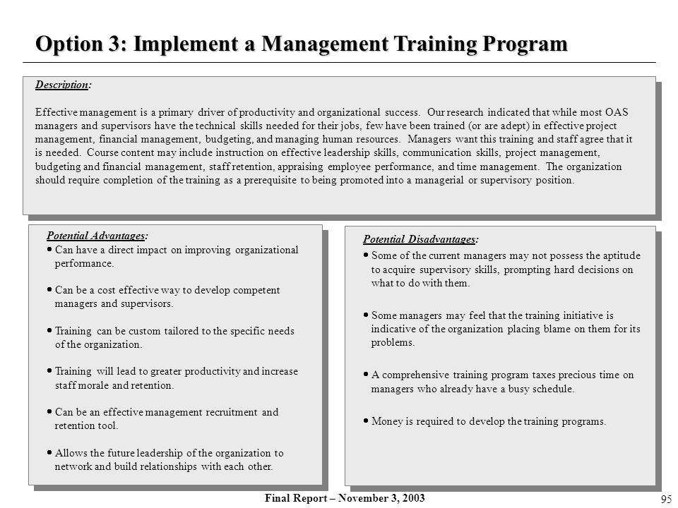 Option 3: Implement a Management Training Program