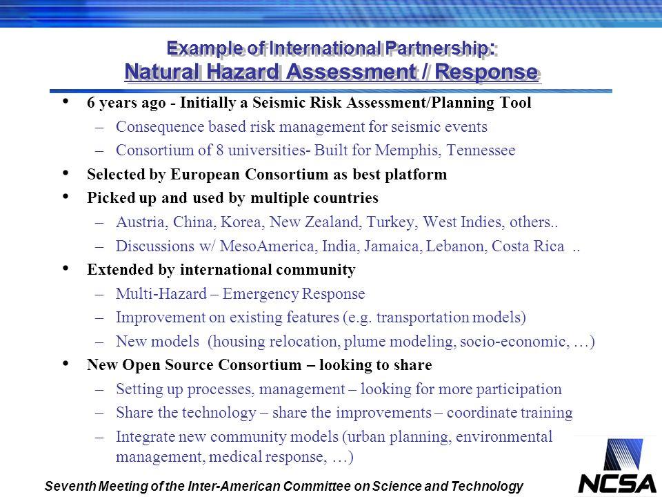 Example of International Partnership: Natural Hazard Assessment / Response