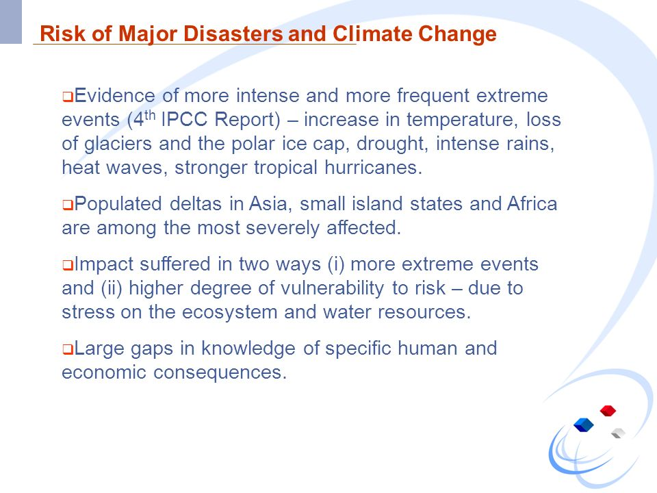 Risk of Major Disasters and Climate Change