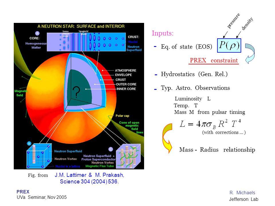 Inputs: Eq. of state (EOS) PREX constraint Hydrostatics (Gen. Rel.)