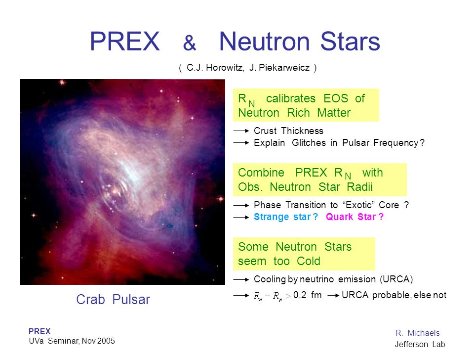 PREX & Neutron Stars Crab Pulsar