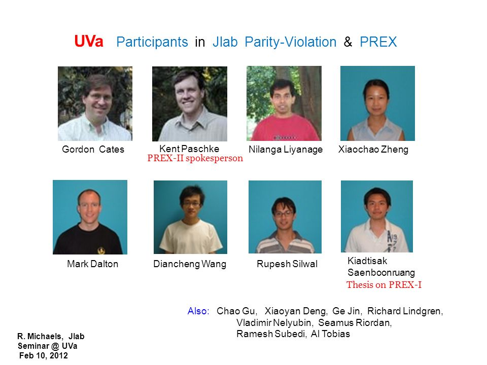 UVa Participants in Jlab Parity-Violation & PREX