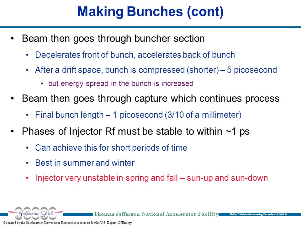 Making Bunches (cont) Beam then goes through buncher section