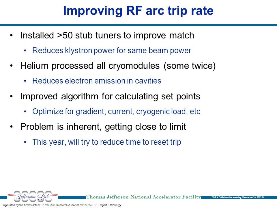 Improving RF arc trip rate