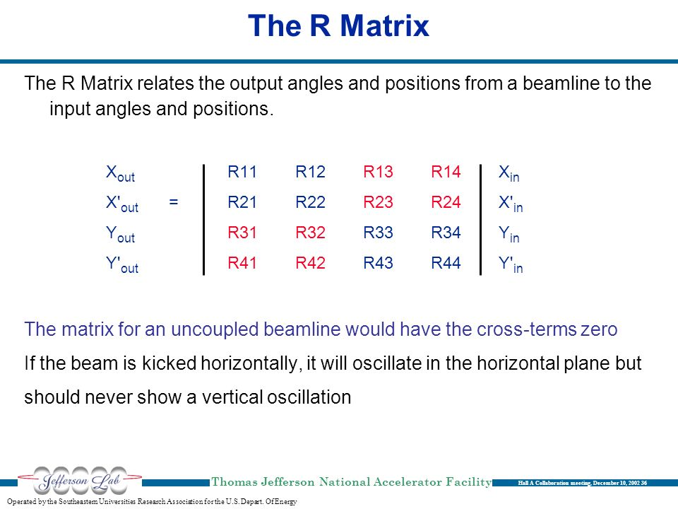The R Matrix The R Matrix relates the output angles and positions from a beamline to the input angles and positions.