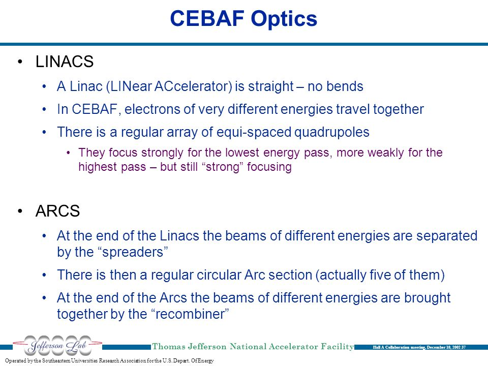 CEBAF Optics LINACS ARCS