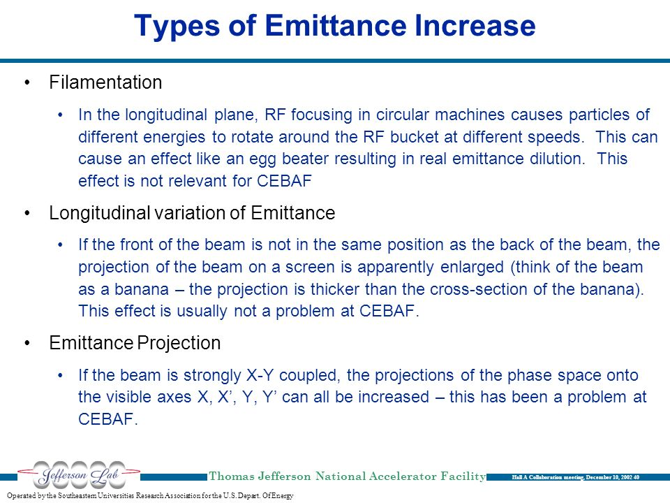 Types of Emittance Increase