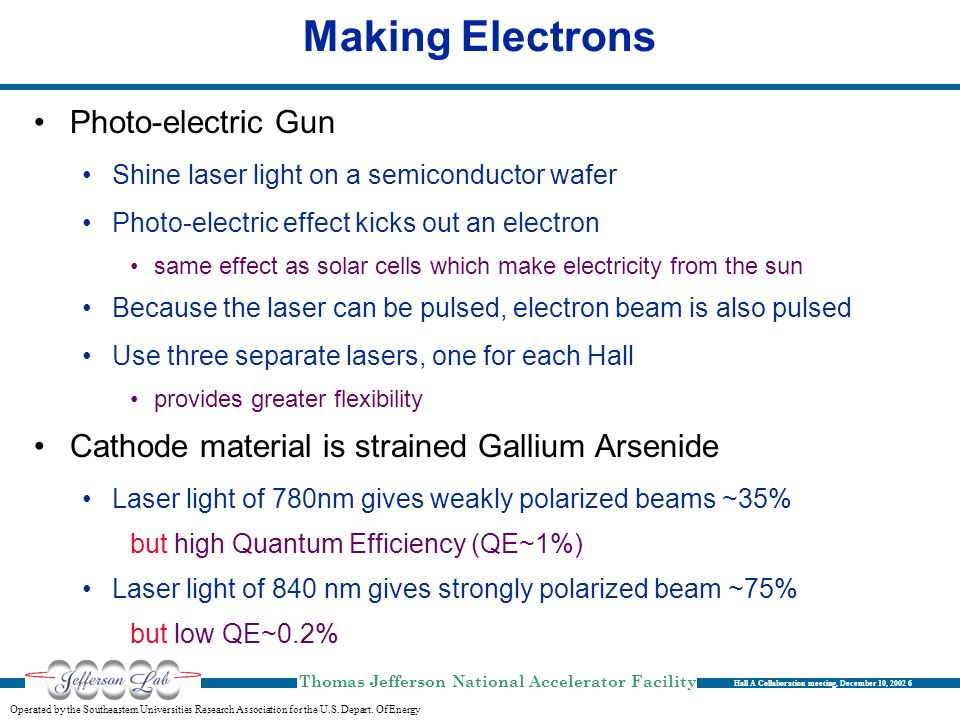 Making Electrons Photo-electric Gun