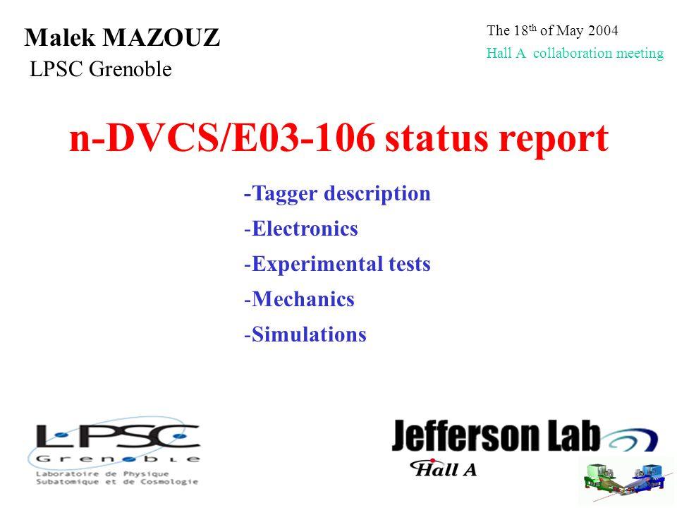 n-DVCS/E03-106 status report